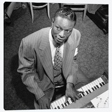 Nat King Cole (1919-1965) Canvas Print #GER407} by William P Gottlieb Canvas Wall Art