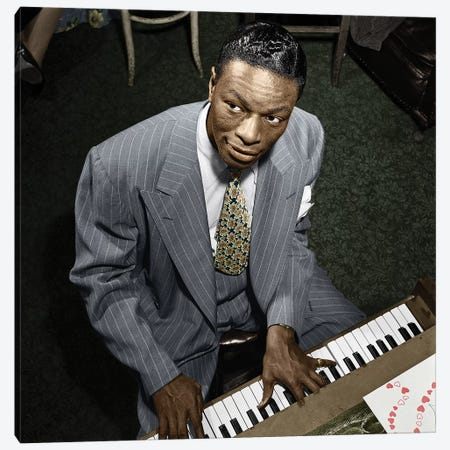 Nat King Cole (1919-1965) Canvas Print #GER408} by William P. Gottlieb Canvas Print