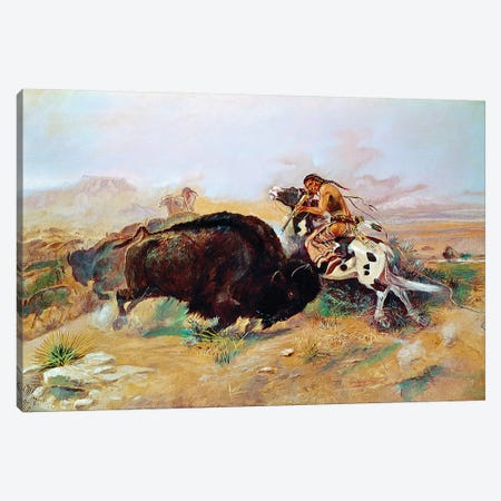Russell: Buffalo Hunt Canvas Print #GER413} by Charles Russell Canvas Wall Art