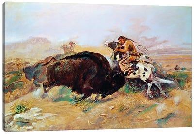 Russell: Buffalo Hunt Canvas Art Print
