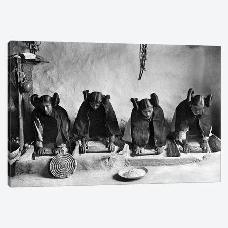 Hopi Grinding Grain, C1906 Canvas Print #GER415} by Edward S. Curtis Canvas Print