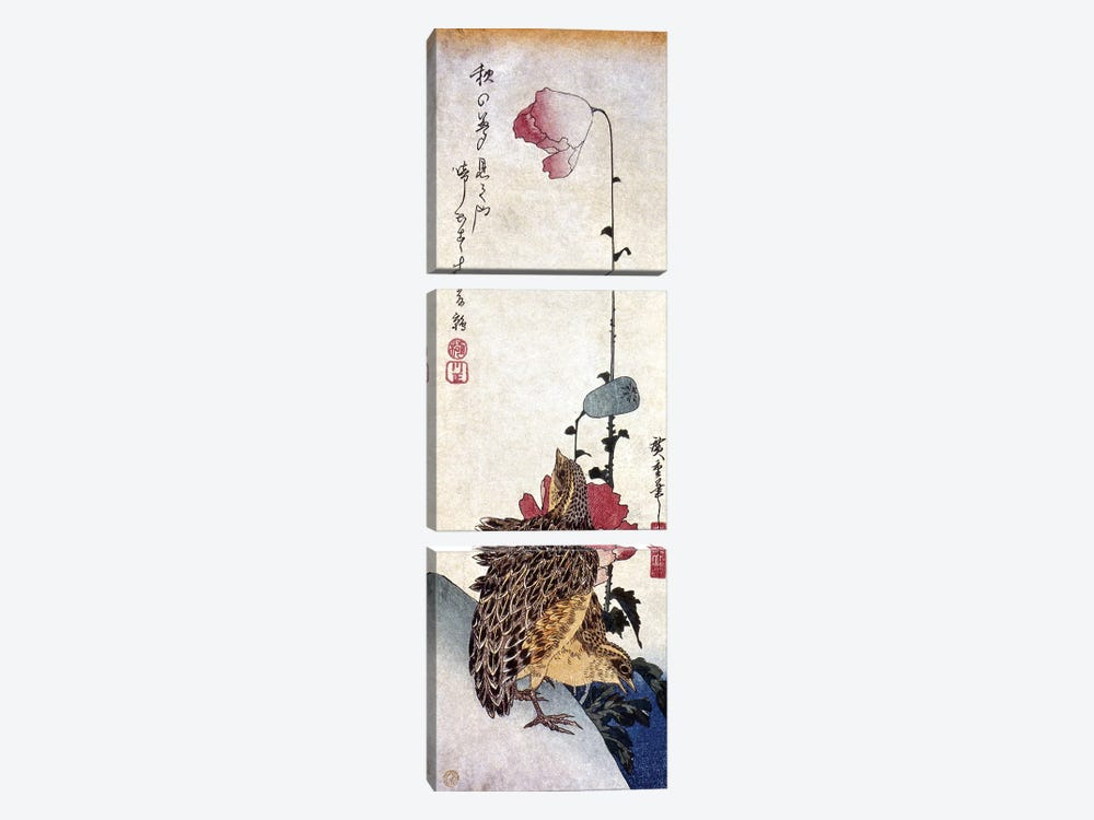 Hiroshige: Poppies by Ando Hiroshige 3-piece Canvas Wall Art