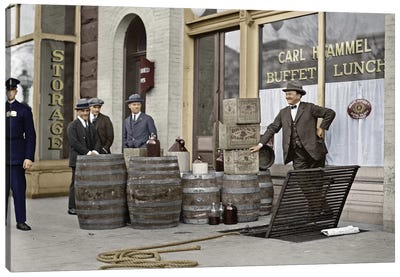 Liquor Raid, 1923 Canvas Art Print