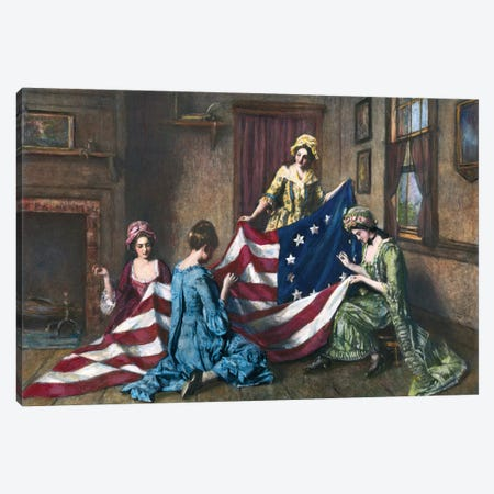 Birth Of The Flag Canvas Print #GER83} by Henry Mosler Canvas Print