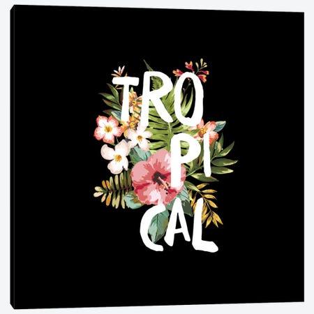 Tropical Black Canvas Print #GES99} by Galaxy Eyes Art Print