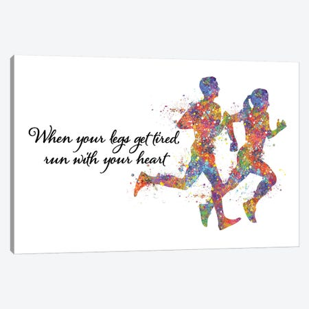 Runner Couple Quote Canvas Print #GFA107} by Genefy Art Canvas Art