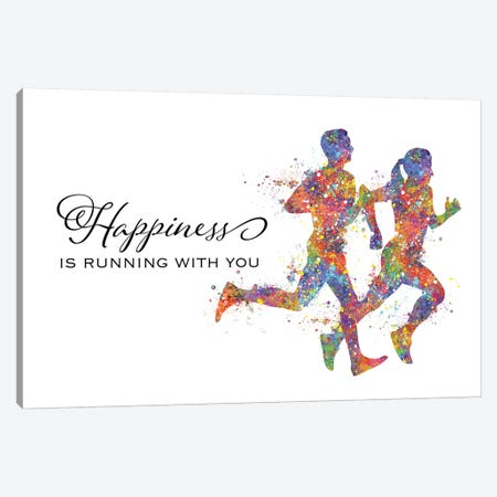Runner Couple Quote Happiness Canvas Print #GFA108} by Genefy Art Canvas Print