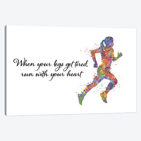 Runner Female Quote I Canvas Print #GFA109} by Genefy Art Art Print