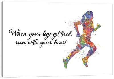 Runner Female Quote I Canvas Art Print