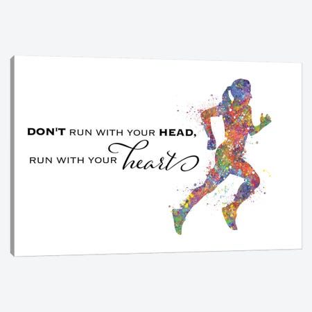 Runner Female Quote II Canvas Print #GFA110} by Genefy Art Canvas Artwork
