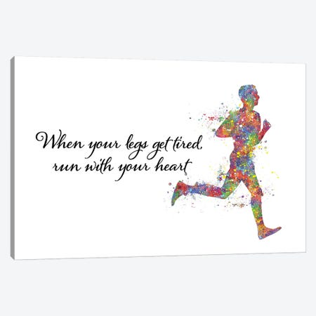 Runner Male Quote Canvas Print #GFA111} by Genefy Art Canvas Wall Art
