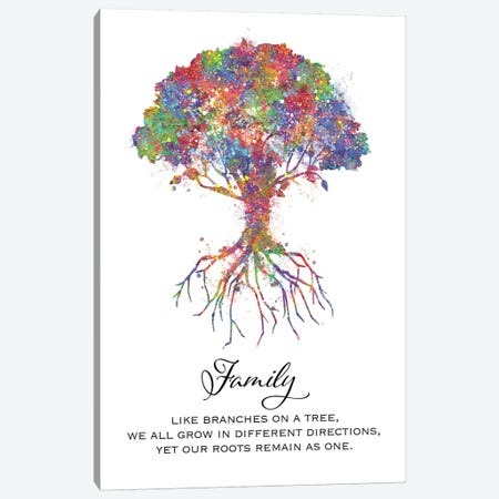Trees Family Quote Canvas Print #GFA140} by Genefy Art Canvas Print