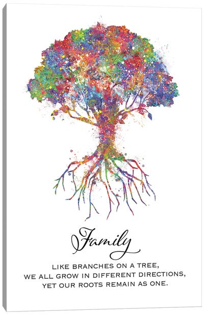 Trees Family Quote Canvas Art Print