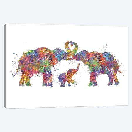 Elephant Family Canvas Print #GFA143} by Genefy Art Art Print