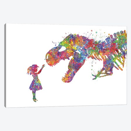 T-Rex And Girl Canvas Print #GFA144} by Genefy Art Canvas Art