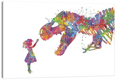 T-Rex And Girl Canvas Art Print