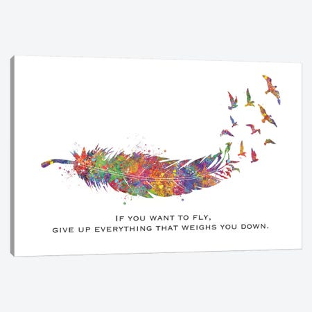 Feather Quote Landscape Canvas Print #GFA53} by Genefy Art Canvas Art Print