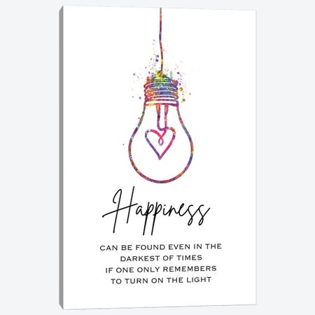 Lightbulb Happiness Canvas Print #GFA79} by Genefy Art Art Print