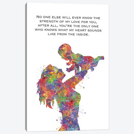Mother Baby Quote Canvas Print #GFA86} by Genefy Art Canvas Art Print