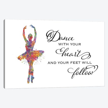 Ballerina Quote Heart Follow Canvas Print #GFA8} by Genefy Art Canvas Print