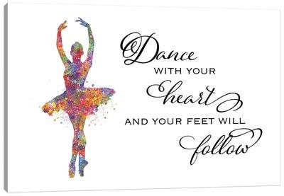 Ballerina Quote Heart Follow Canvas Art Print