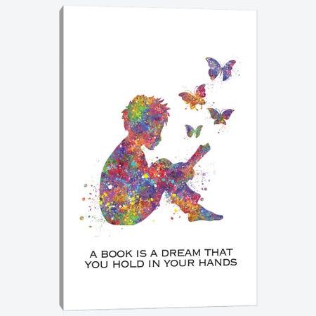 Boy Read Book Quote Canvas Print #GFA9} by Genefy Art Art Print