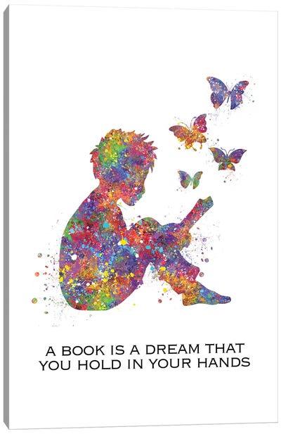 Boy Read Book Quote Canvas Art Print
