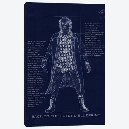 Back To The Future Doc Blueprint Canvas Print #GFN240} by Gab Fernando Canvas Wall Art