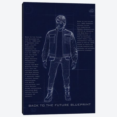 Back To The Future Marty Blueprint Canvas Print #GFN241} by Gab Fernando Canvas Wall Art