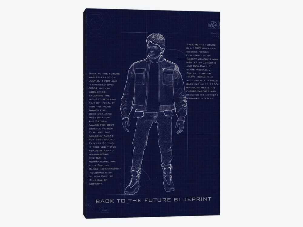 Back To The Future Marty Blueprint by Gab Fernando 1-piece Canvas Print