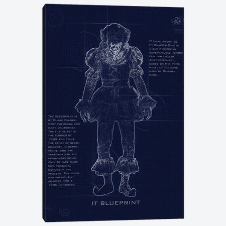 Pennywise Blueprint Canvas Print #GFN245} by Gab Fernando Art Print