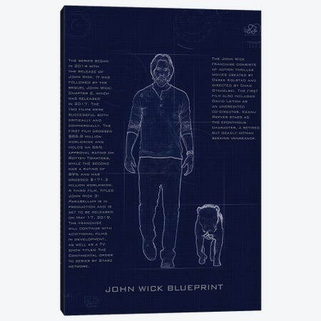 John Wick Blueprint Canvas Print #GFN246} by Gab Fernando Art Print