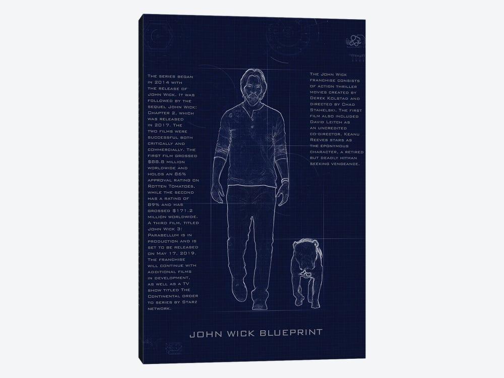 John Wick Blueprint by Gab Fernando 1-piece Canvas Wall Art