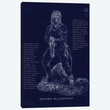Rambo Blueprint Canvas Print #GFN249} by Gab Fernando Canvas Wall Art