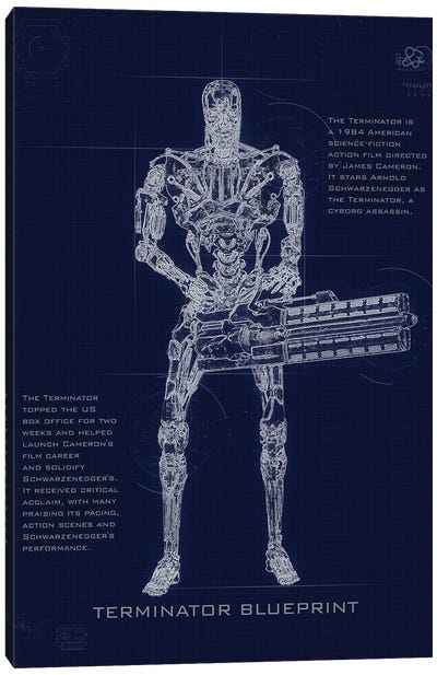 Terminator T2 Blueprint Canvas Art Print