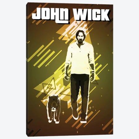 John Wick Retro Canvas Print #GFN311} by Gab Fernando Canvas Artwork