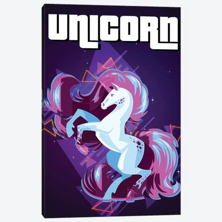 Unicorn Retro III Canvas Print #GFN323} by Gab Fernando Canvas Art Print