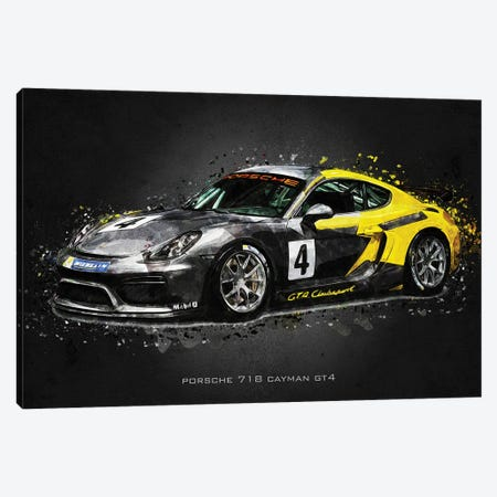 Porsche 718 Cayman GT4 Canvas Print #GFN403} by Gab Fernando Canvas Art