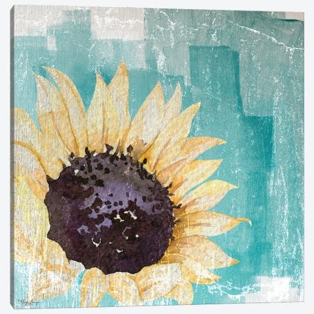 Sunflower Teal Canvas Print #GGL35} by Gigi Louise Canvas Artwork