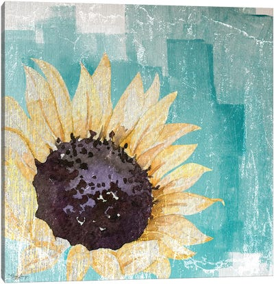 Sunflower Teal Canvas Art Print