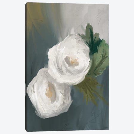 White Painted Flowers Canvas Print #GGL51} by Gigi Louise Canvas Art Print