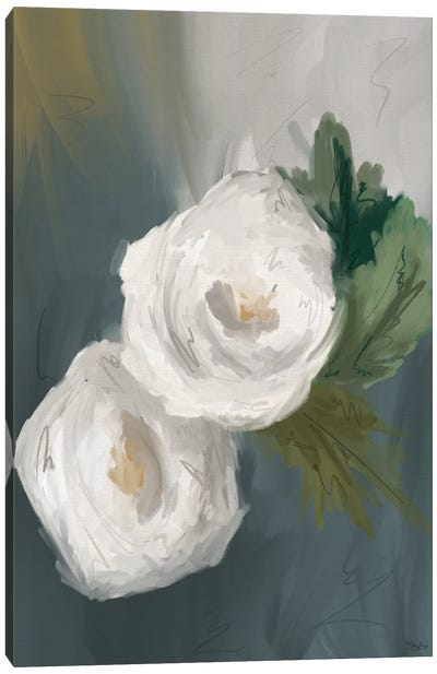 White Painted Flowers Canvas Art Print