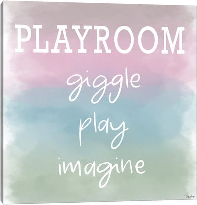 Giggle Play Watercolor Canvas Art Print