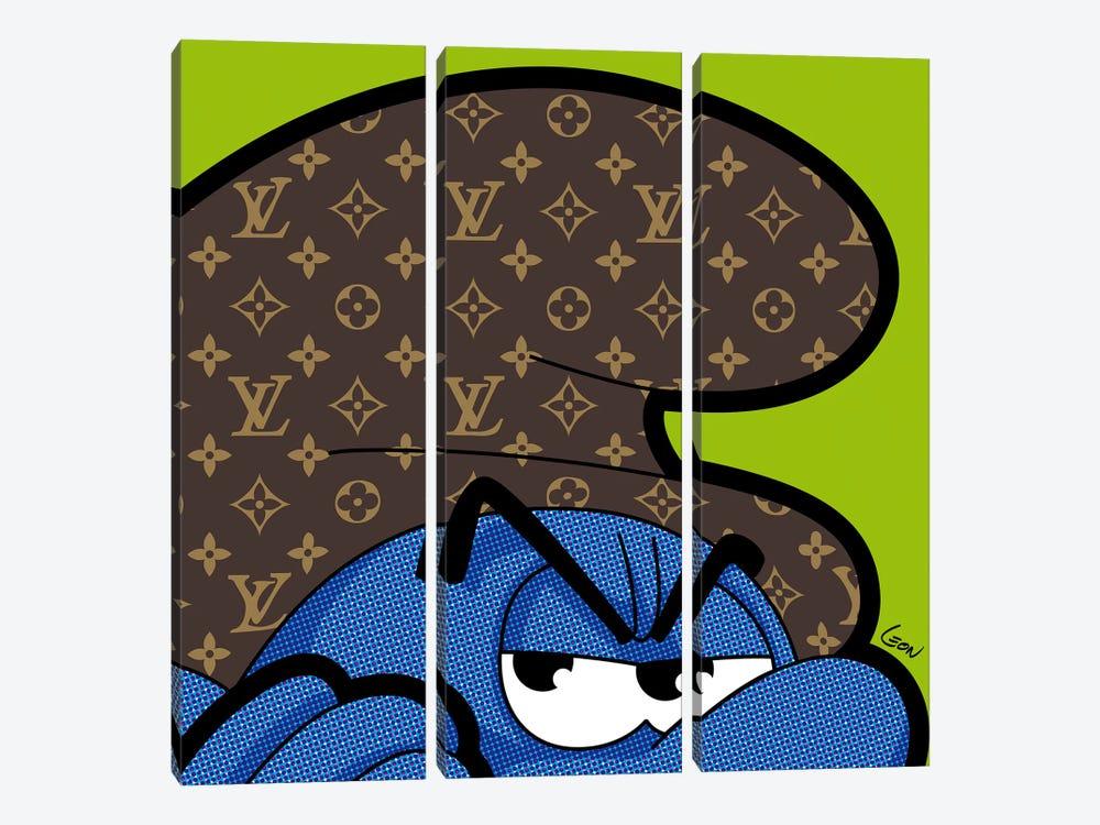 "Billboard Smurf by Grégoire ""Léon"" Guillemin 3-piece Canvas Art Print"