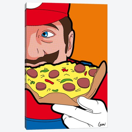 "Mario-pizza Canvas Print #GGN58} by Gregoire ""Leon"" Guillemin Canvas Art Print"