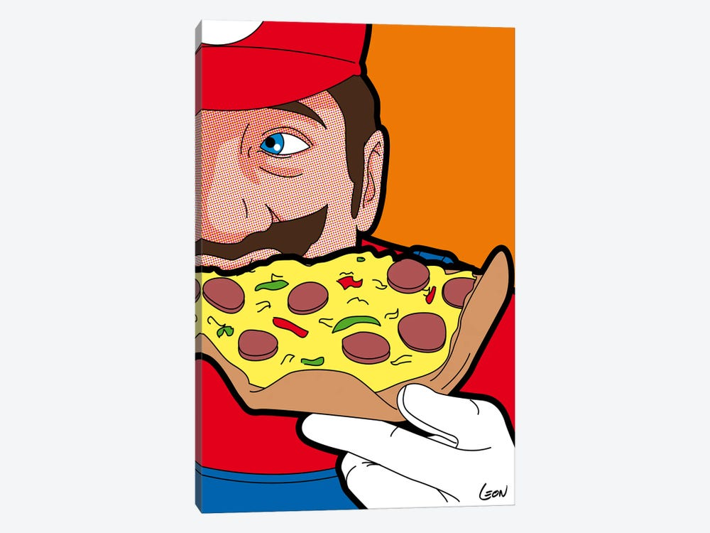 "Mario-pizza by Gregoire ""Leon"" Guillemin 1-piece Canvas Print"
