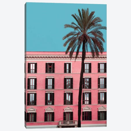 Pink Palm Canvas Print #GGV29} by A Carousel Wandering Canvas Wall Art