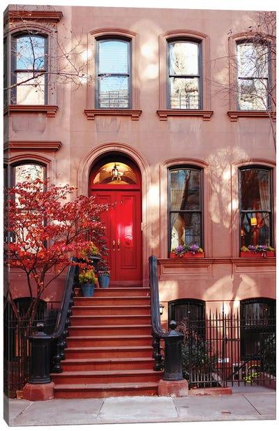 Red Door In Fall Canvas Art Print