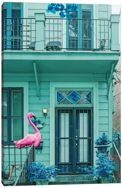 Pink Flamingo House Canvas Art Print