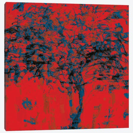 Red Blue Tree Canvas Print #GHL18} by George Hall Art Print